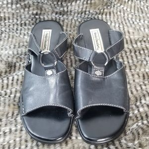Harley-Davidson Black Leather Slides Sz 9